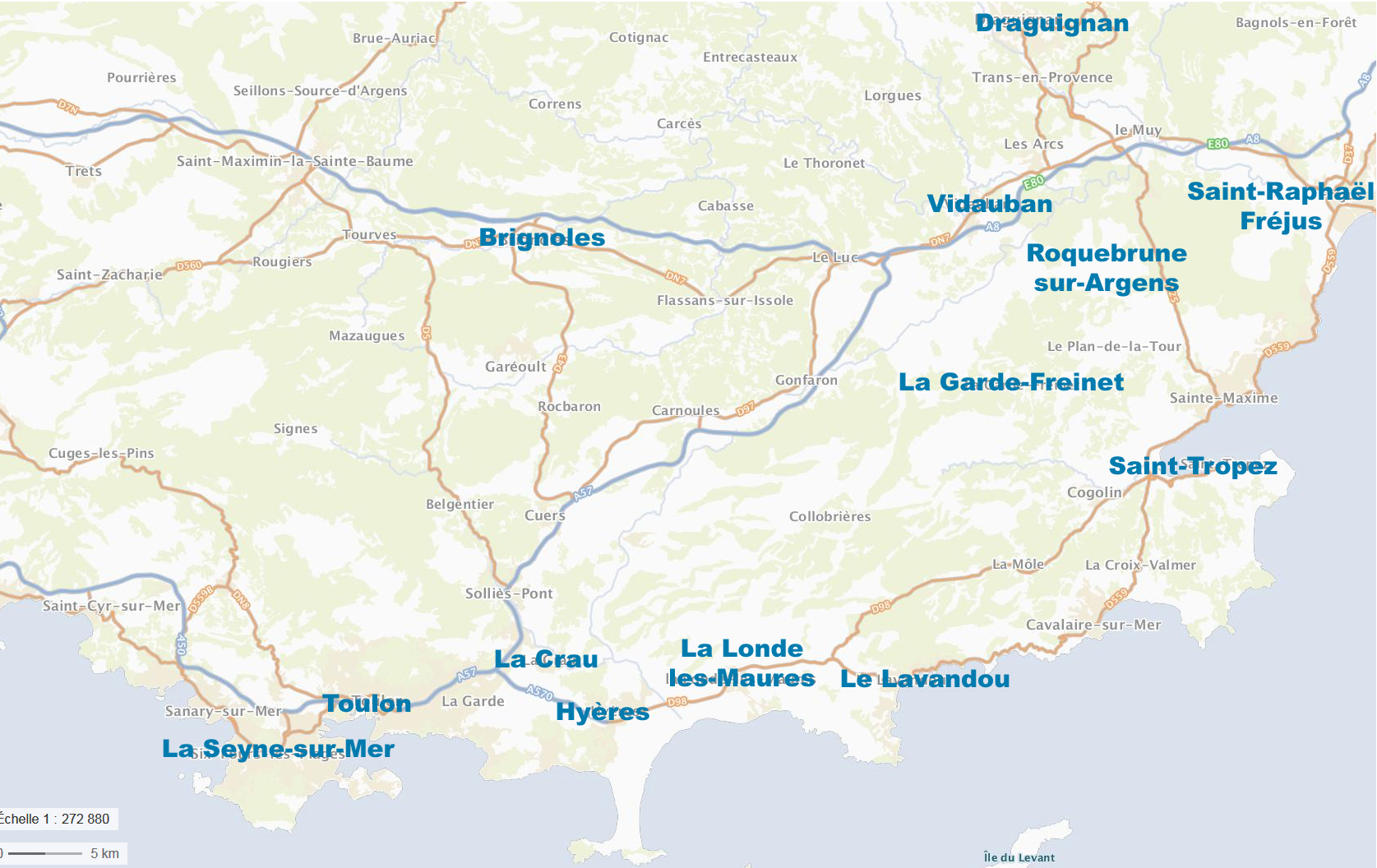 Carte des clubs du Var
